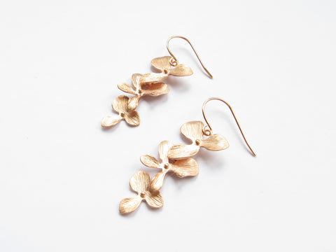 Rose Gold Cascading Orchid Earrings