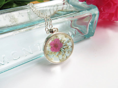 Real Flower Necklace -Forget Me Not Flower - Pink