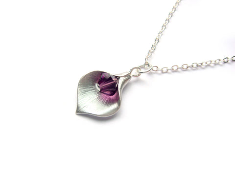 Calla Lily Necklace in Amethyst