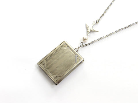 Book Locket In Silver
