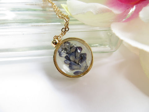 Real Flower Necklace - Lavender