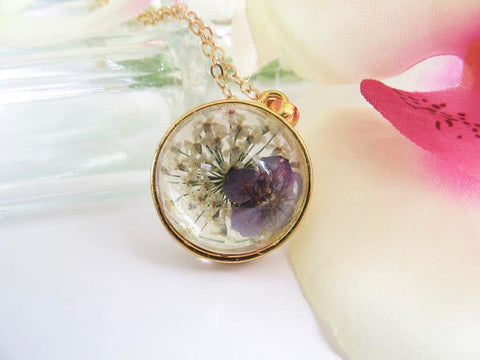 Copy of Real Flower Necklace -Forget Me Not Flower - Purple