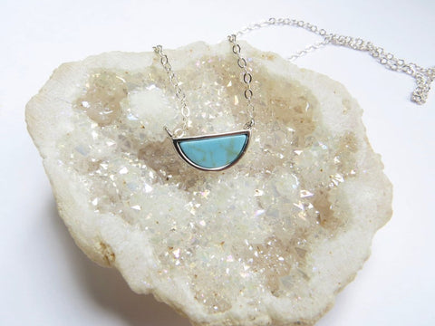 Turquoise Half Moon Necklace - Silver