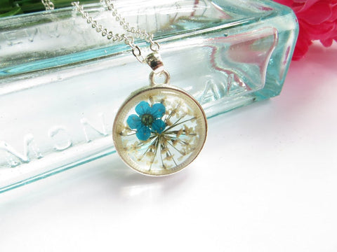 Real Flower Necklace -Forget Me Not Flower - Blue
