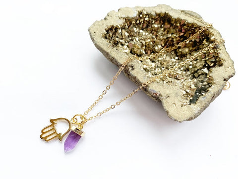 Amethyst And Hamsa Necklace