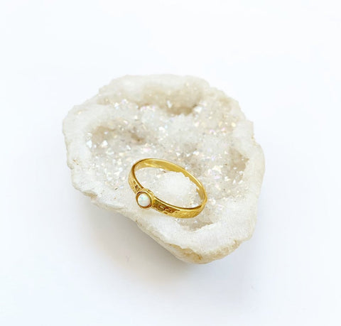 Sterling Opal Ring - Gold