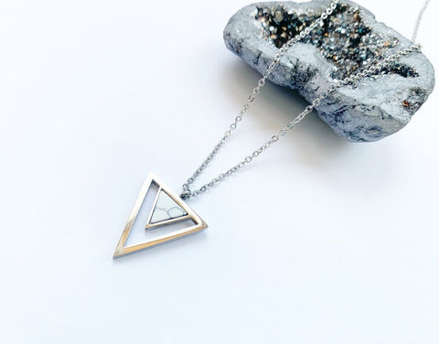 Marble Triangle Necklace - Silver