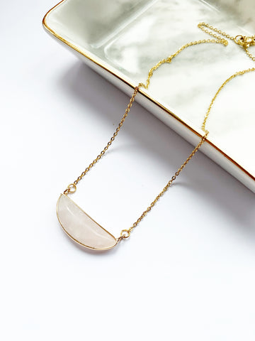 Rose Quartz Half Moon Necklace
