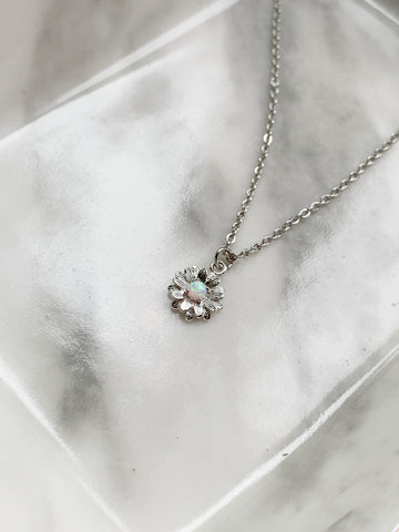 Opal Daisy Necklace - Silver