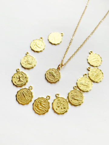Small Zodiac Necklace - Gold