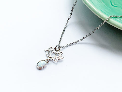 Opal Lotus Necklace - Silver
