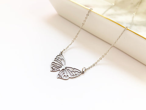 Filigree Butterfly Necklace - Silver