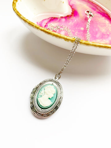 Blue Cameo Locket