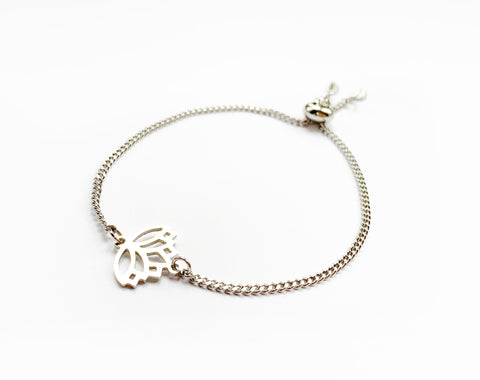 Adjustable Lotus Bracelet in Silver