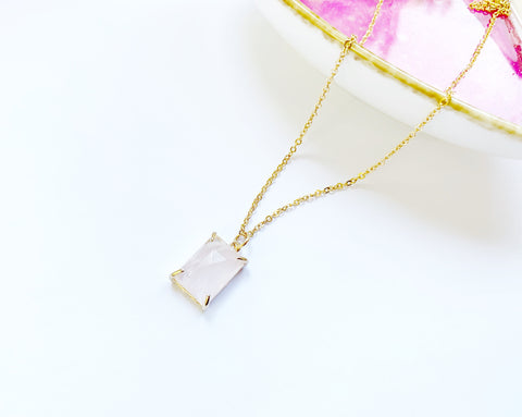 Rectangle Rose Quartz Necklace