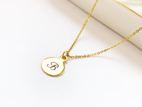 Gold Stainless Steel Initial Necklace