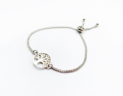Adjustable Tree Bracelet in Silver