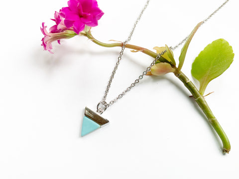Turquoise Triangle Necklace Silver