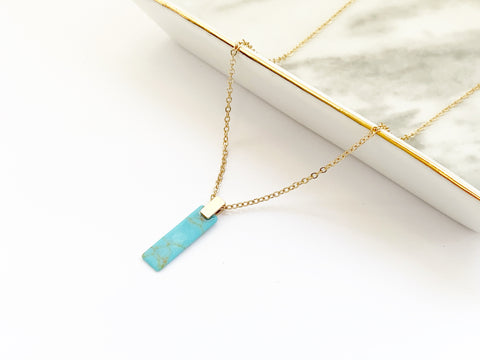 Bar Necklace - Verical - Turquoise
