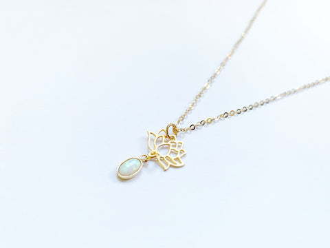 Opal and Lotus Necklace