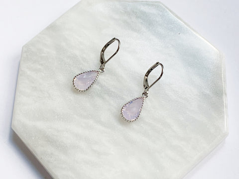 Pink Opal Pear Earrings - Silver