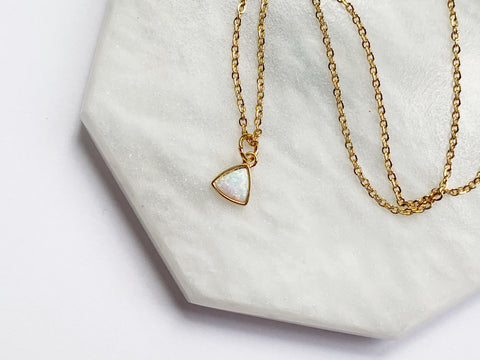Opal Triangle Necklace - Gold