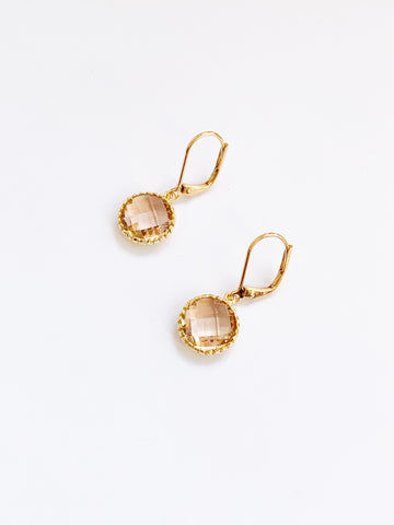 Champagne Gold Round Earrings