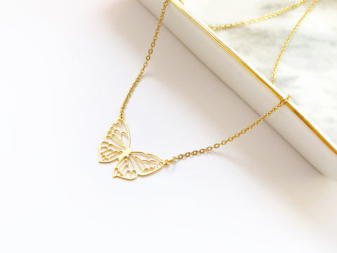Filigree Butterfly Necklace - Gold