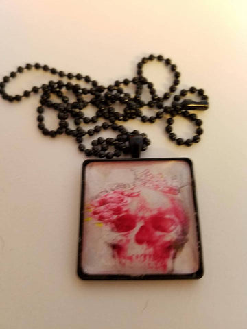 Pink Skull Cabochon Necklace