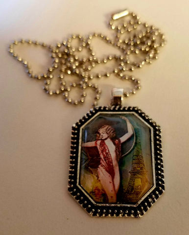 Parisian Lyra Girl Cabochon Necklace