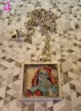 Zombie Pin Up Girl Cabochon Necklace