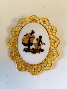 Golden Proposal Cameo Brooch