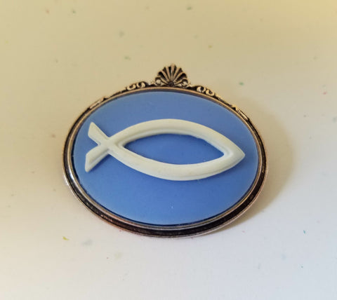 Fish Symbol Cameo Brooch