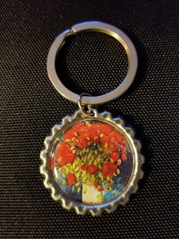Vase with Red Poppies Key Chain