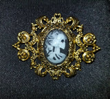 Gold Lolita Skeleton Cameo Brooch