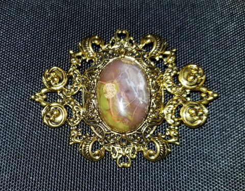 Camou-chic Cabochon Brooch