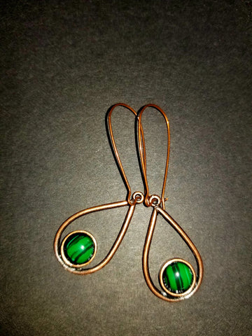Malachite Drop Antique Copper Earrings