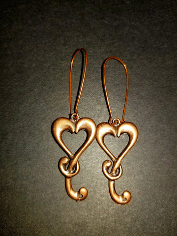 Saxon Heart Antique Copper Earrings