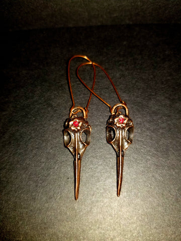 Raven Skull Antique Copper Earrings