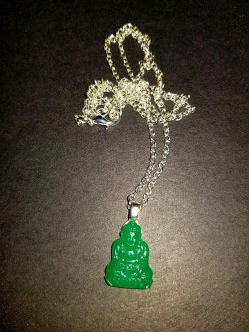 Jade Glass Buddha Necklace