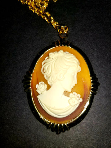 Amber and Gold Cameo Necklace