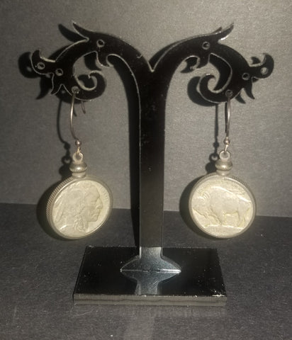Buffalo/Indian Head Nickel Fish-hook Earrings