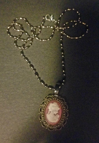 Mauve Lass Cameo Necklace