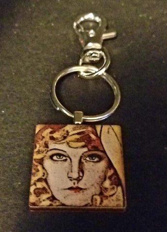 Goldie Glamour Girl Wood Key Chain