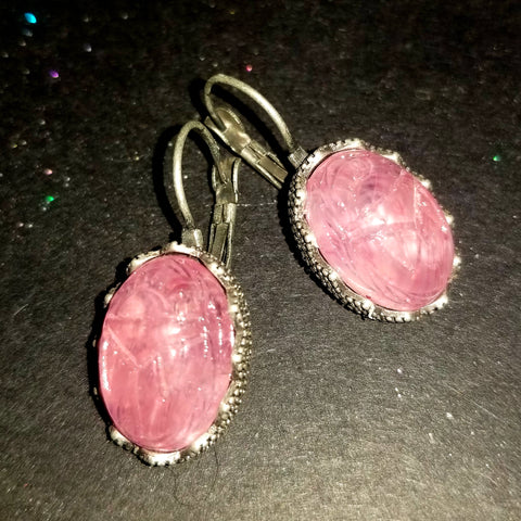 Rose Quartz Scarab Earrings