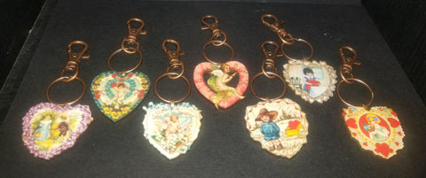 Vintage Valentine Heart Wood Key Chain