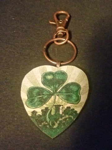 Luck of the Irish Wood Key Chain