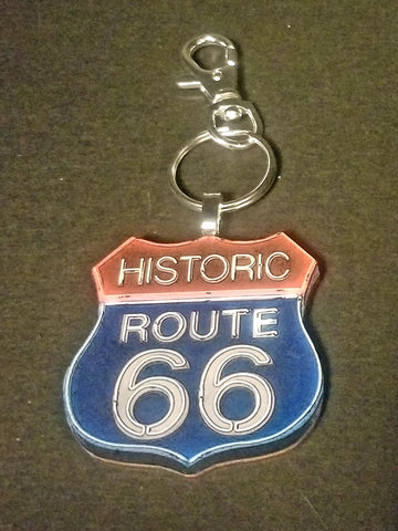 Historic Route 66 Wood Key Chain