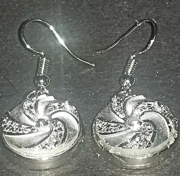 Silver & Rhinestone Swirl Earrings