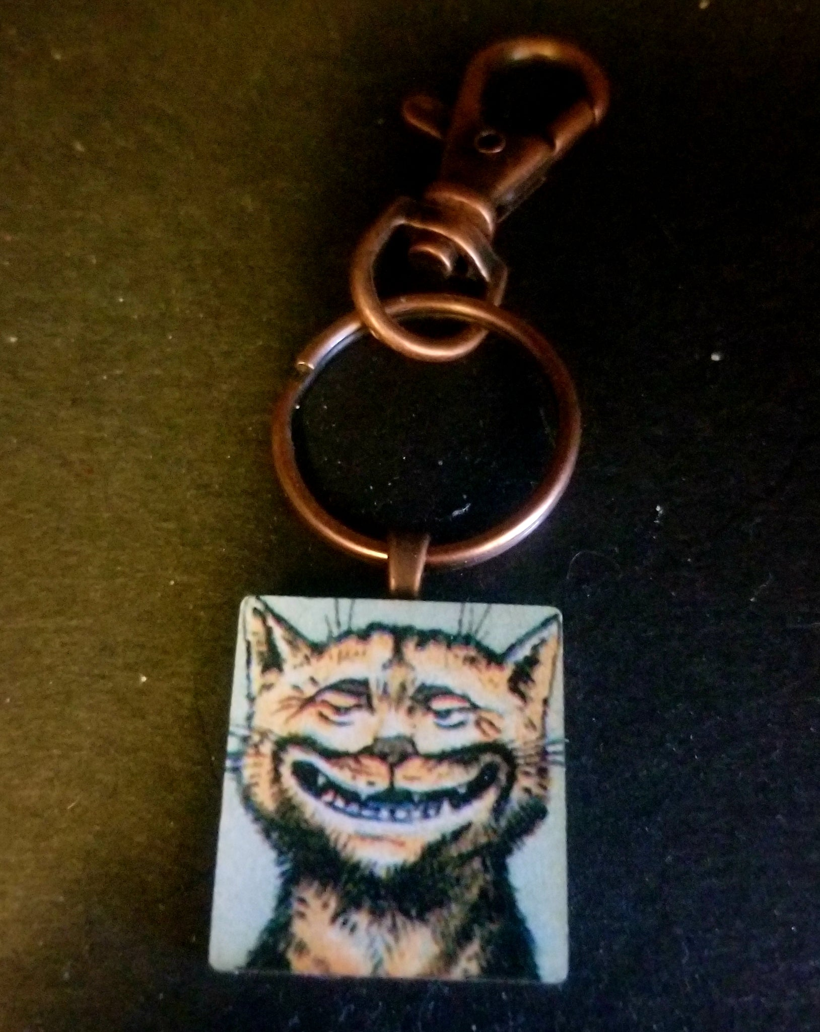 Cheshire Cat Wood Tile Key Chain
